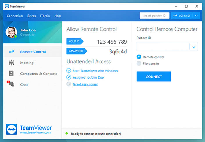 Interfata remote TeamViewer
